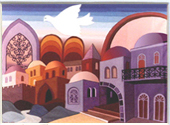 Jerusalem in purple miniature