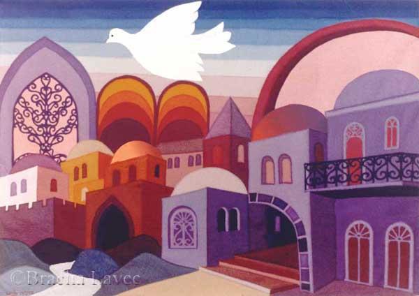 Jerusalem in purple original tapestry