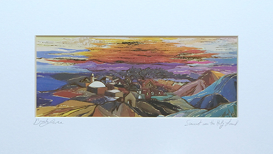 Sunset over the Holy land special signed print
