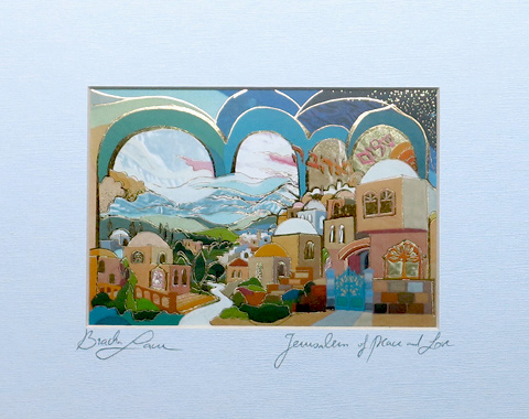 Peace and love over Jerusalem signed print