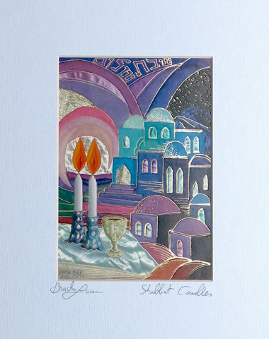 Shabbat candles signed print