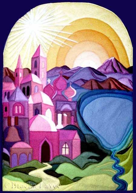 Nazareth and sea of galilee original tapestry