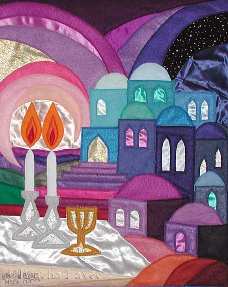 Shabbat candles original tapestry