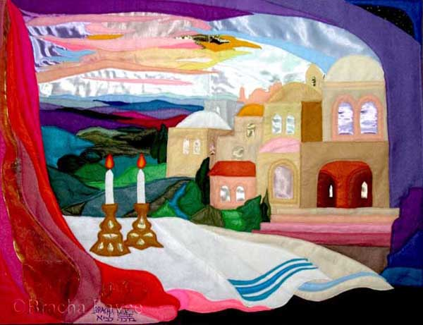 Shabbat in purple original tapestry