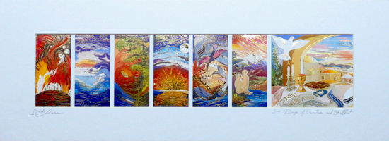 Six days of creation and Shabbat special signed print
